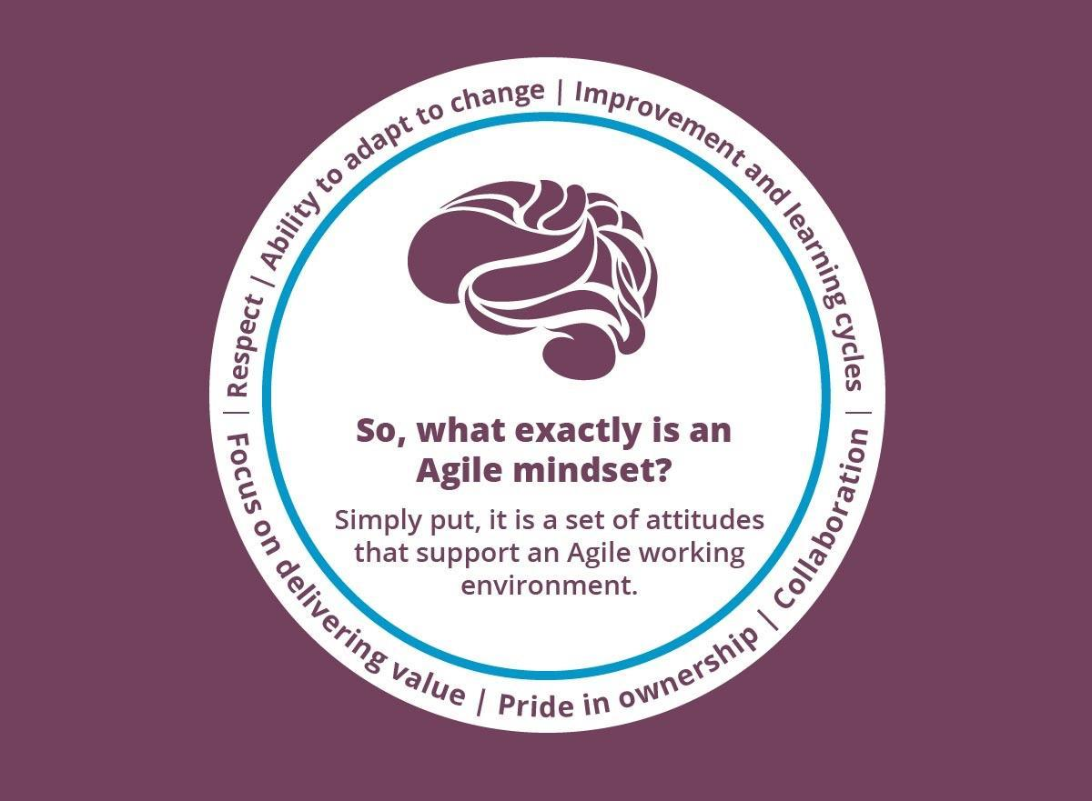 So, what exactly is an Agile mindset? Simply put, it is a set of attitudes that support an Agile working environment: respect, collaboration, improvement and learning cycles, pride in ownership, focus on delivering value, and ability to adapt to change.
